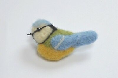 Needle felting Kit for a Bluetit Bird Brooch gift jewellery collectible