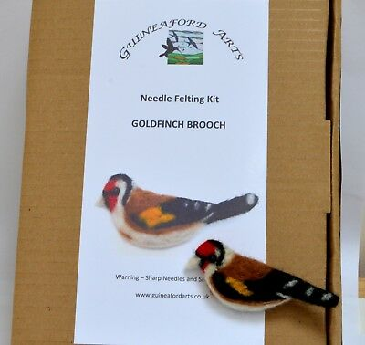 Needle felting Kit for a Goldfinch Bird Brooch gift jewellery collectible
