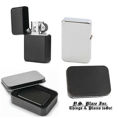 Biker Refillable Cigarette Lighter Windproof Tin Case Box Chrome / Black Matte