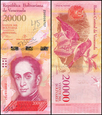 Venezuela 20,000 Bolivares, 2007-17, P-NEW, USED, Replacement, With Pen Marks