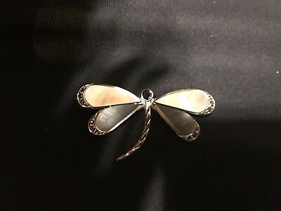Vintage Estate Monet Abalone Marcasite Silver Dragonfly Brooch Pin