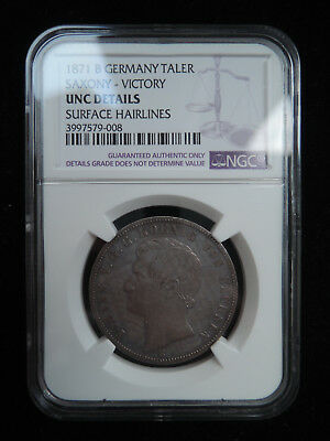 Germany 1871 B 1 Thaler Saxony Victory silver coin NGC unc details