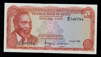 Kenya  5  Shillings 1978  B/91  Pick # 15  Unc Less.