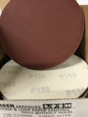 "25- 150 Grit 6"" Dia Hook & Loop Sandpaper KENE Abrasives 32538"