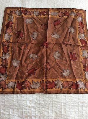 Vintage Signed Scarf Robinson Golluber Silk Autumn Leaves 20 Inch Square