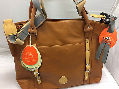 PacaPod Mirano Tan Designer Baby Changing Bag - Luxury Tan Tote 3 in 1 Organisin