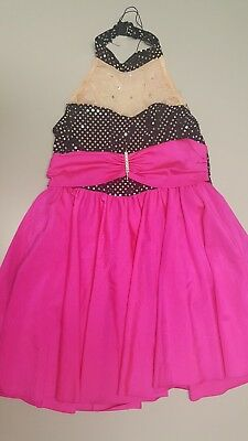 Girls Dress Hot pink and Black. Open back.