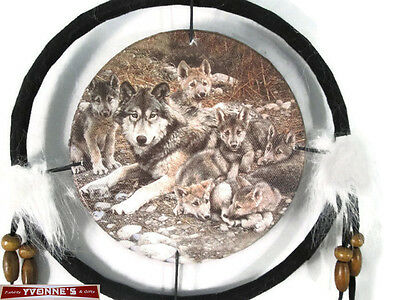 """6.5"""" Wolf Mom & Babies Dream Catcher With Beads,Fur & Feathers Wall Decoration"""