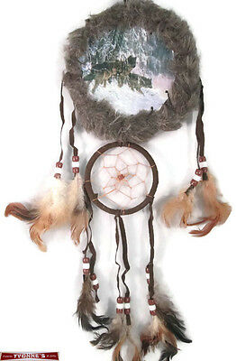 """5"""" Wolfs In Snow Double FurTrim Dream Catcher W Beads & Feathers Wall Decoration"""