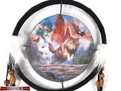 """6.5"""" Wolf Mountain Scene Dream Catcher With Beads,Fur & Feathers Wall Decoration"""