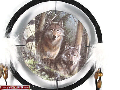 """6.5"""" Wolfs In Pines Dream Catcher With Beads,Fur & Feathers Wall Decoration"""