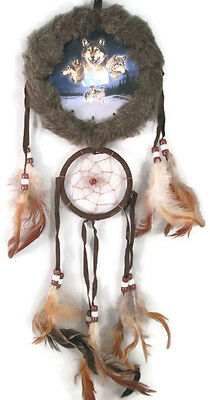 """5""""  Wolf Moon Double Fur Trimed Dream Catcher W Beads & Feathers Wall Decoration"""