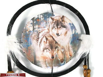 """6.5"""" Wolfs In Woods Dream Catcher With Beads,Fur & Feathers Wall Decoration"""