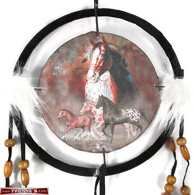 """6.5"""" Painted Ponies Dream Catcher With Beads,Fur & Feathers Wall Decoration"""