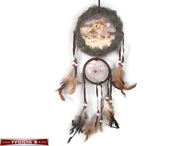 """5"""" Wolf Pack Double Fur Trimed Dream Catcher W Beads & Feathers Wall Decoration"""
