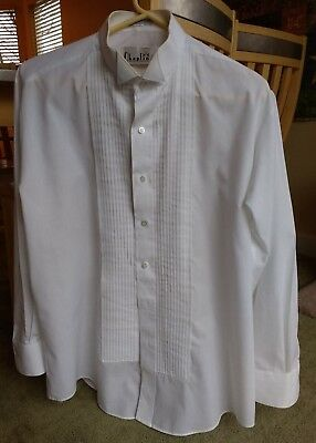 White Tuxedo Formal Shirt Wing Collar sz L 32-33 ready for prom