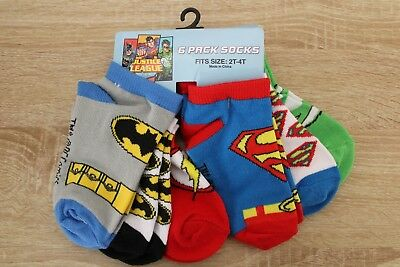 NEW DC Comics Justice League Logos Toddler Boys Socks 6 Pairs 2T-4T