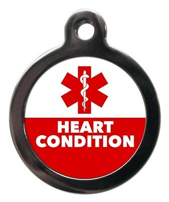 HEART CONDITION MEDICAL ALERT PET TAG - Pet ID Tags-Engraved FREE-Dog Cat Discs