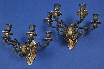 Antique French 19th century Pair Gilt Bronze Wall Sconces 8 Lights