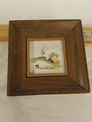 Hand Painted Tile Miniature Framed Painted Tile by Joyce Minot ND Artist NICE!