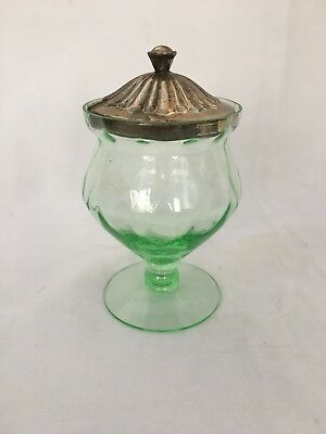Vintage Green Depression Glass Pedestal Sugar Bowl With Metal Lid