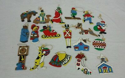 Vintage Wooden Hand Painted Two Sided Christmas Tree Ornaments Flat