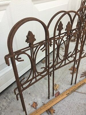 9' Vintage Wrought Iron Border Fence Rust Patina Antique Architectural Salvage
