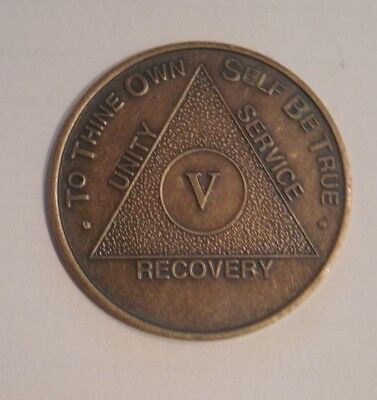 NEW aa bronze alcoholics anonymous 5 year sobriety chip coin token medallion