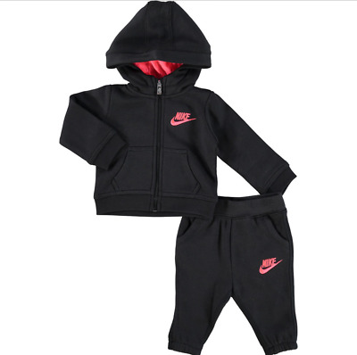 5ac22ad71c54 Nike Infant Baby Full Zip Tracksuit Children Hooded Jogging Suit Black    Pink