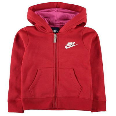 Nike Girls Club Full Zip Hoodie Junior Hooded Top Jacket - Red