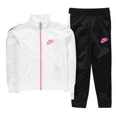 Nike Infant Baby Full Zip Tracksuit Children Jogging Tricot Suit - White / Black