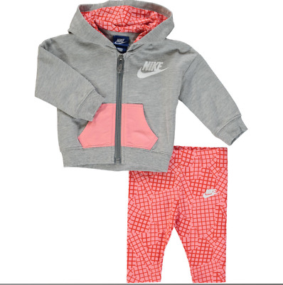 Nike Infant Baby Full Zip Tracksuit Children Hooded Jogging Suit - Grey/Pink