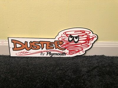 """Vintage Rare Nos Duster By Plymouth W/ Tornado 14"""" Metal Car, Gasoline+ Oil Sign"""