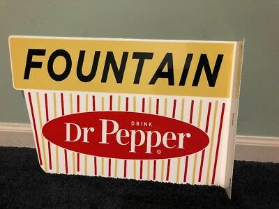 Vintage Dr Pepper Porcelain Flange Double Sided Sign 18 X 12 Soda Fountain Nos