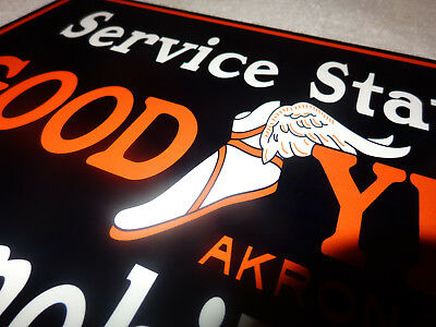 """Vintage Goodyear Automobile Tires Akron Service Station 12"""" X 8"""" Metal Gas Sign!"""