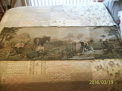 "Tapestry Wall Hanging Antique Machine Woven Courting Couple Farm 5'5"" x 1'9"""
