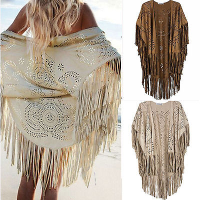 Womens Fringe Tassel Boho Cape Shawl Kimono Cardigan Beach Cover Up Kaftan Tops