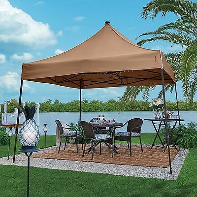 Outdoor 10 Foot Square Solar Lighted Pop Up Gazebo Bronze Finish Tan Canopy