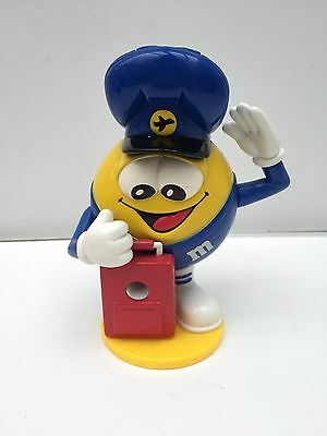 M&M Mars Candy Dispenser Yellow Blue Hat Pilot Aviator Collectible Works