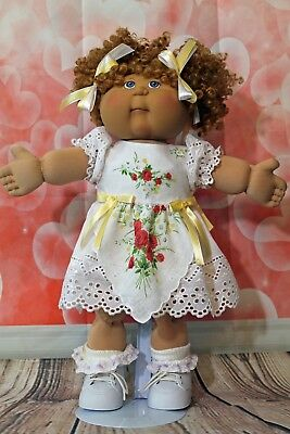 """Cabbage Patch Doll Cloths- Valentine Dress -panties- 2 hair ribbons- fits 16"""""""