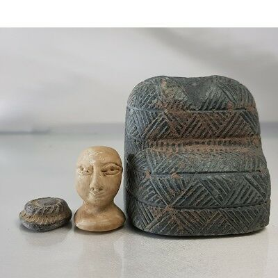 Old Stunning Emperor King Bactrian seated Stone Head Face Statue  # B