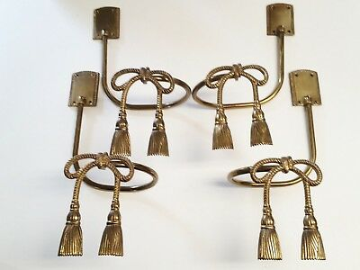 2 Sets of Vintage Brass Rope Bow and Tassle Curtain Drapery Tie Backs