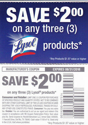 6 Lysol coupons - Save $2.00 off any three products Expires 8/31/18 (grocery)
