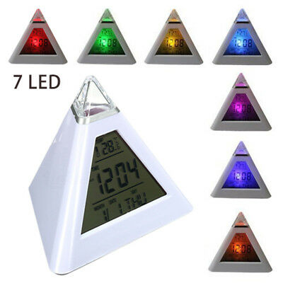 7 LED Color Changing Digital Pyramid LCD Alarm Clock Desk Bed Thermometer Light