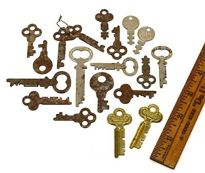 VTG/Antique EAGLE LOCK CO FLAT SKELETON KEY Lot of 19 PADLOCK Cabinet CHEST KEYS