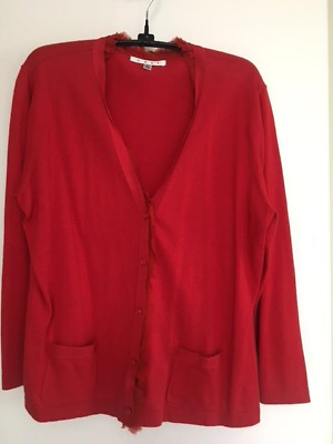 CAbi RUFFLE LACE RED LONG SLEEVE CARDIGAN SIZE L #165
