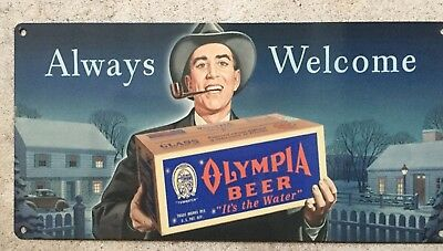 Olympia Always Welcome Oly Washington Beer Brewery Vintage 50's Guy Metal Sign