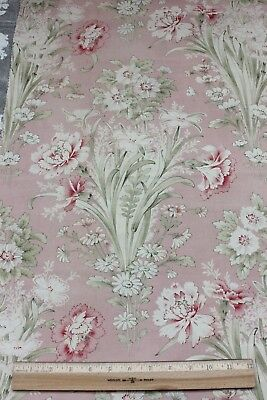 Lovely Pale Pink Printed Antique French Art Nouveau Botanical Fabric c1890