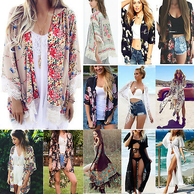 Blouses & Shirts Womens Boho Floral Beach Cover Up Kimono Cardigan Coat Tops Blouse Shawl Kaftan