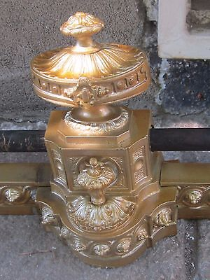 Antq French Ornate Bronze Fireplace Chenet/andirons Front Guard-19Th C